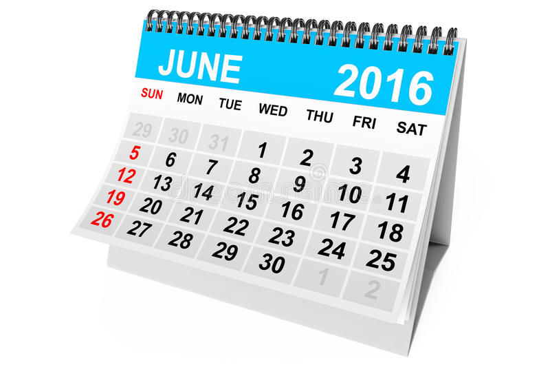 Calendario junio de 2016 representación 3d libre illustration