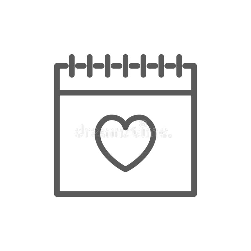 Calendario, línea icono de día de San Valentín libre illustration