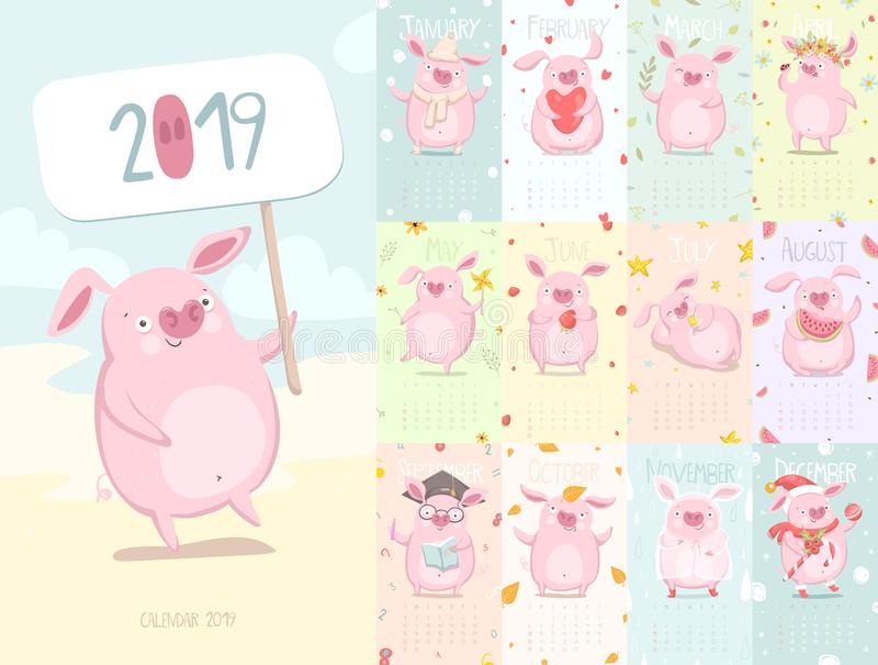 Calendario lindo 2019 con el cerdo libre illustration