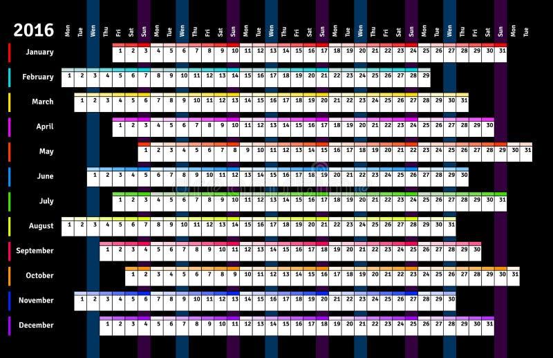 Calendario linear negro 2016 stock de ilustración