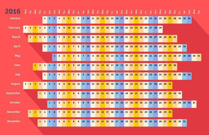 Calendario linear plano rojo 2016 con la sombra larga ilustración del vector