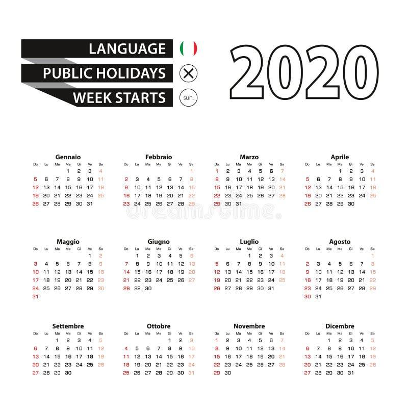 Calendario 2020 in lingua italiana, la settimana inizia da domenica royalty illustrazione gratis