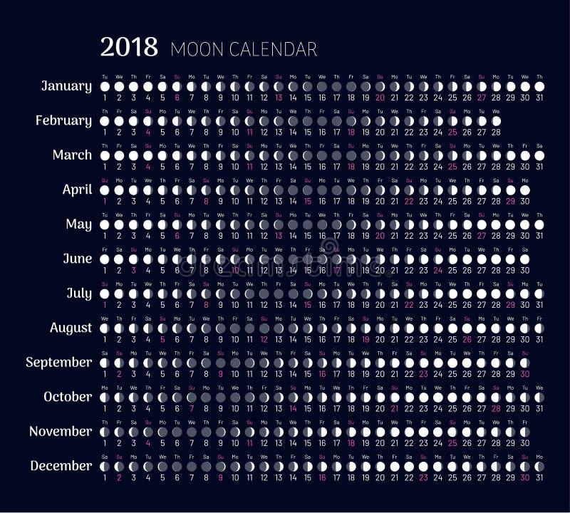 Calendario Lunare Gennaio 2020.Pianificatore Dei Cicli Lunari A 2019 Anni Illustrazione