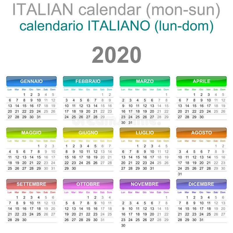 Calendario Festivi 2020.Calendario 2020 Italiano Domenica Illustrazione Vettoriale