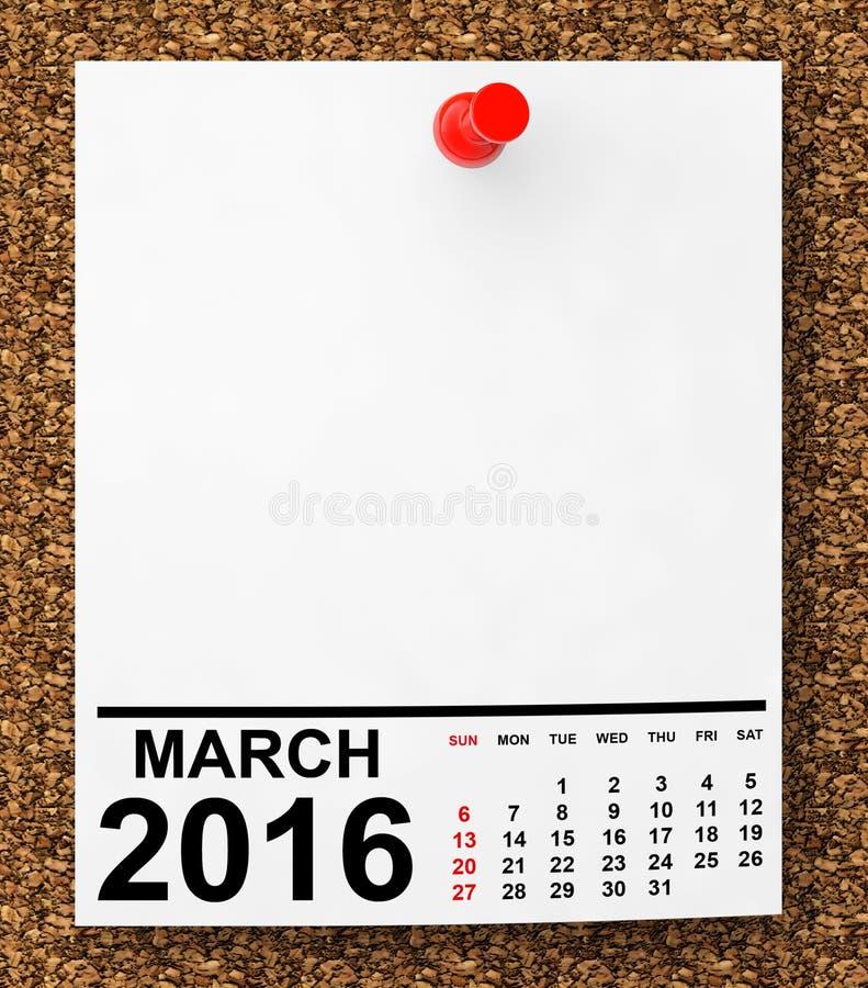 Calendario marzo 2016 illustrazione vettoriale