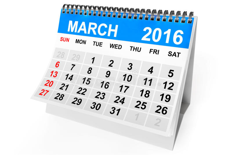 Calendario marzo de 2016 stock de ilustración