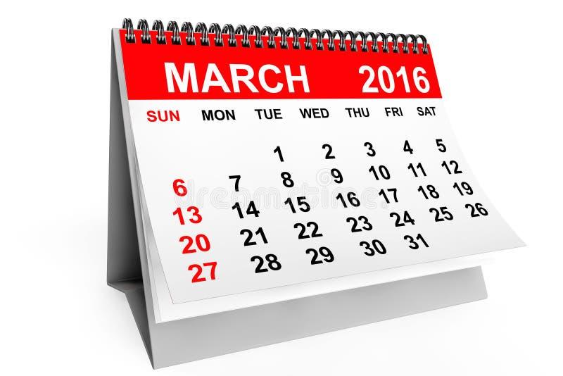 Calendario marzo de 2016 ilustración del vector