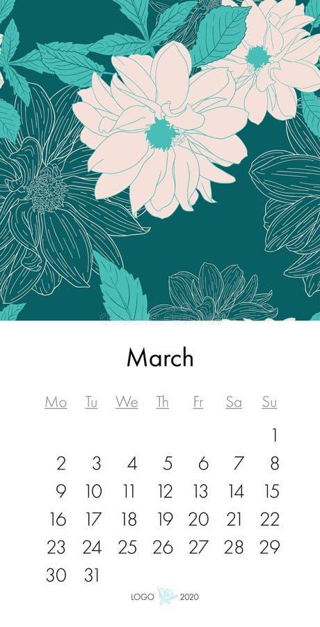 Calendario marzo de 2020 floral con la impresión de la moda Planta en el flor, rama con bosquejo de la tinta de la flor Ilustraci stock de ilustración