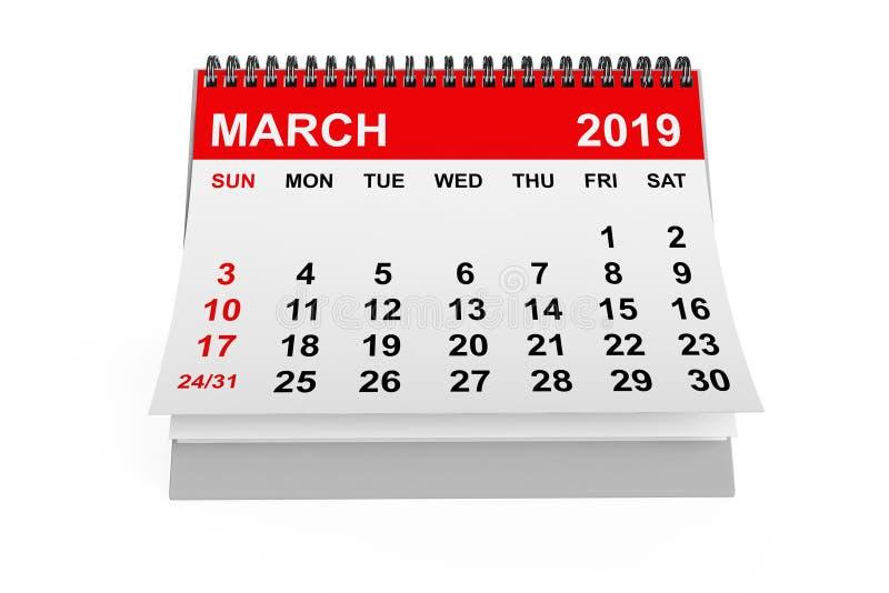 Calendario marzo de 2019 representación 3d ilustración del vector