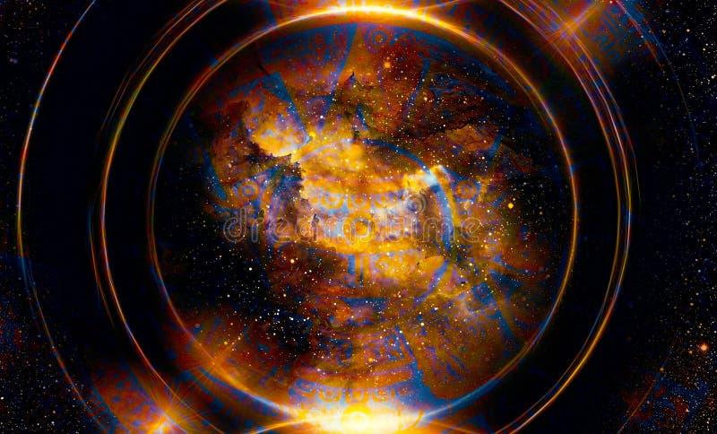 Calendario maya antiguo, espacio cósmico y estrellas, fondo abstracto del color, collage del ordenador ilustración del vector
