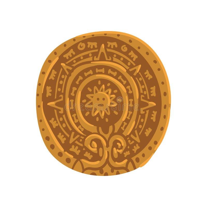 Calendario maya, simbolo di civilizzazione di maya, illustrazione tribale americana di vettore dell'elemento della cultura su un  royalty illustrazione gratis