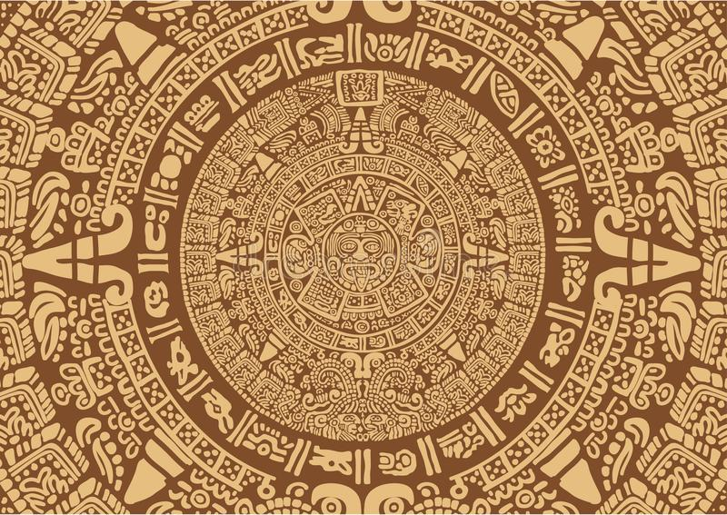 Calendario Mayan antico illustrazione di stock