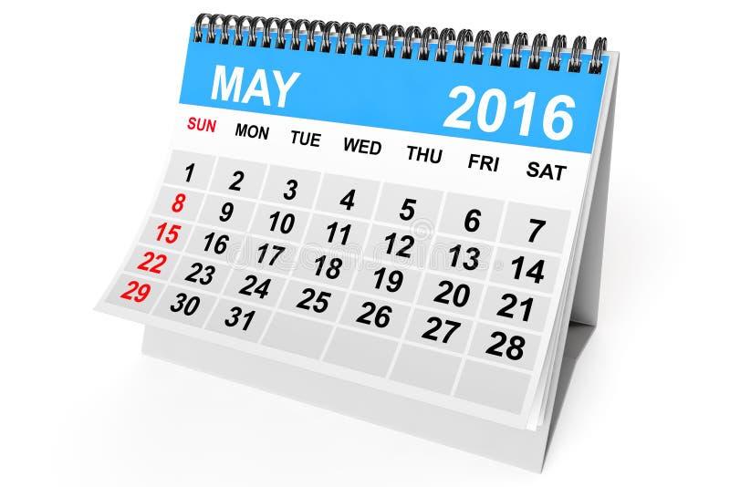 Calendario mayo de 2016 ilustración del vector