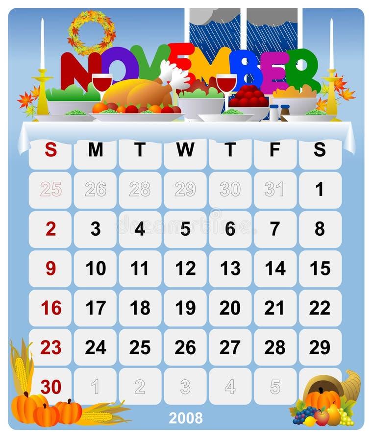 Calendario mensile - 2 novembre illustrazione vettoriale