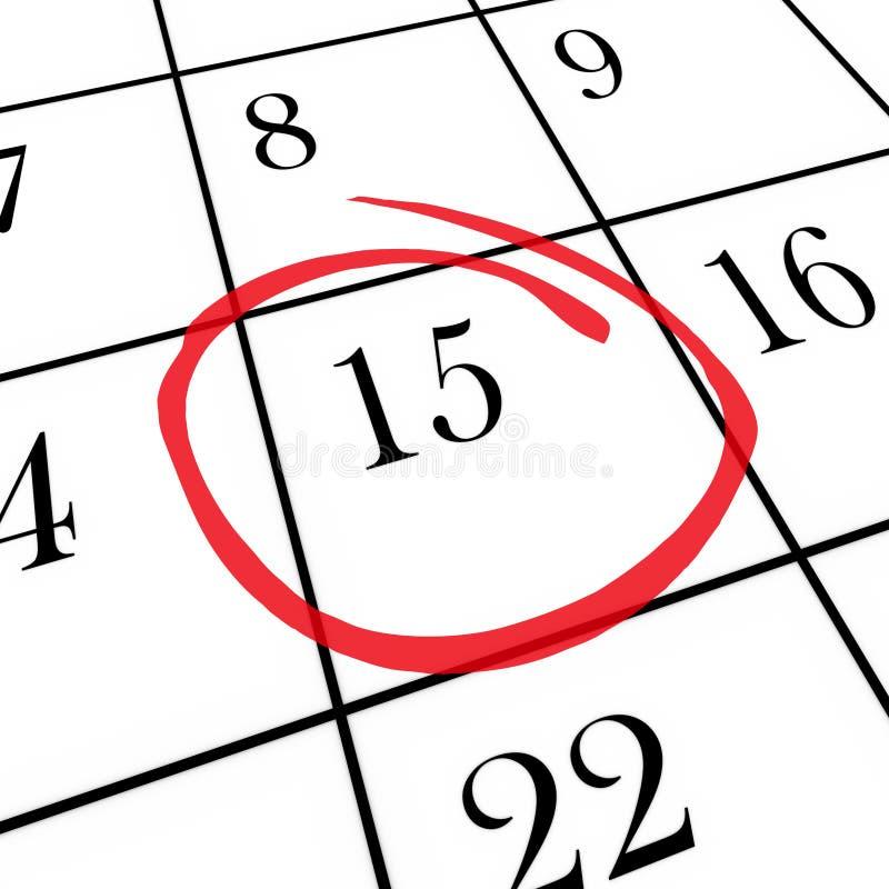 Calendario mensile - quindicesimo giorno circondato illustrazione di stock