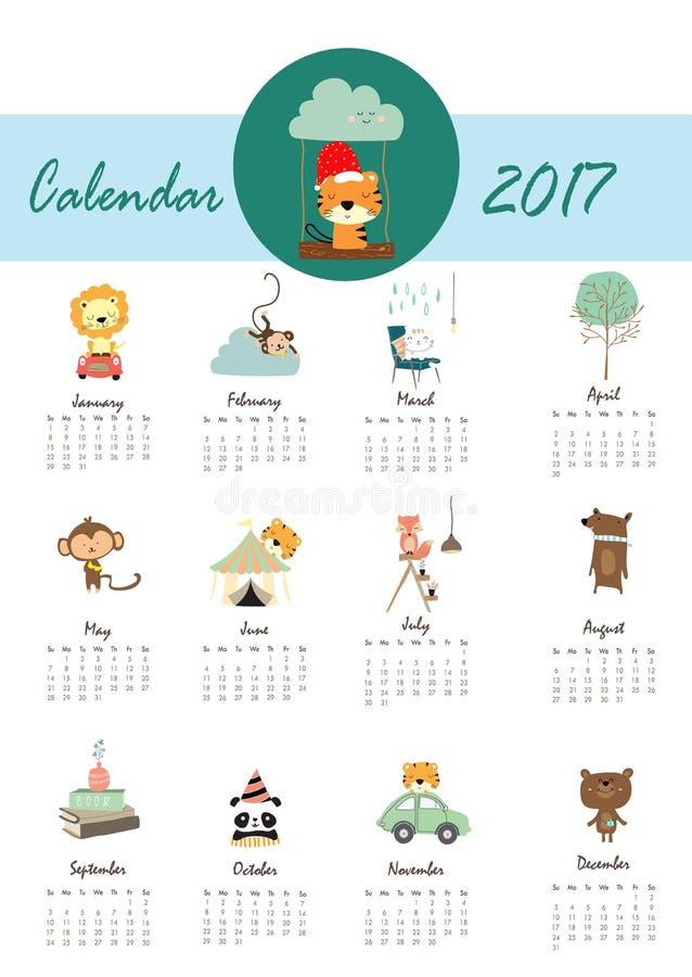 Calendario mensile sveglio variopinto 2017 con il leone, tigre, panda, albero a illustrazione vettoriale