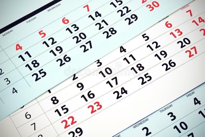 Calendario mensual imagenes de archivo