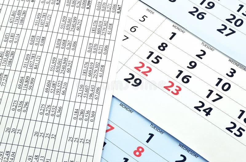 Calendario mensual fotos de archivo