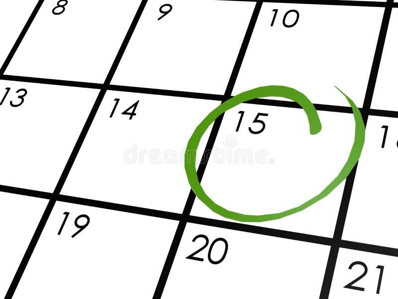 Calendario mensual circundado con verde stock de ilustración