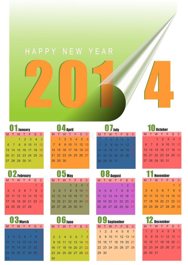 calendario mensual colorido 2014 ilustración del vector