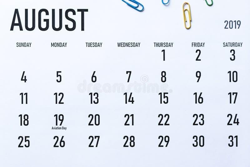 Calendario mensual de agosto de 2019 fotos de archivo
