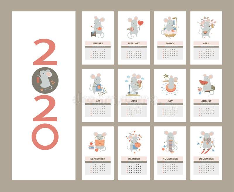 Calendario mensual de 2020 con un lindo ratón - un símbolo del año Calendario de plantilla del año de rata ilustración del vector