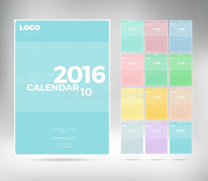 Calendario mensual 2016 de la pared con el lugar para la foto Modelo del vector stock de ilustración