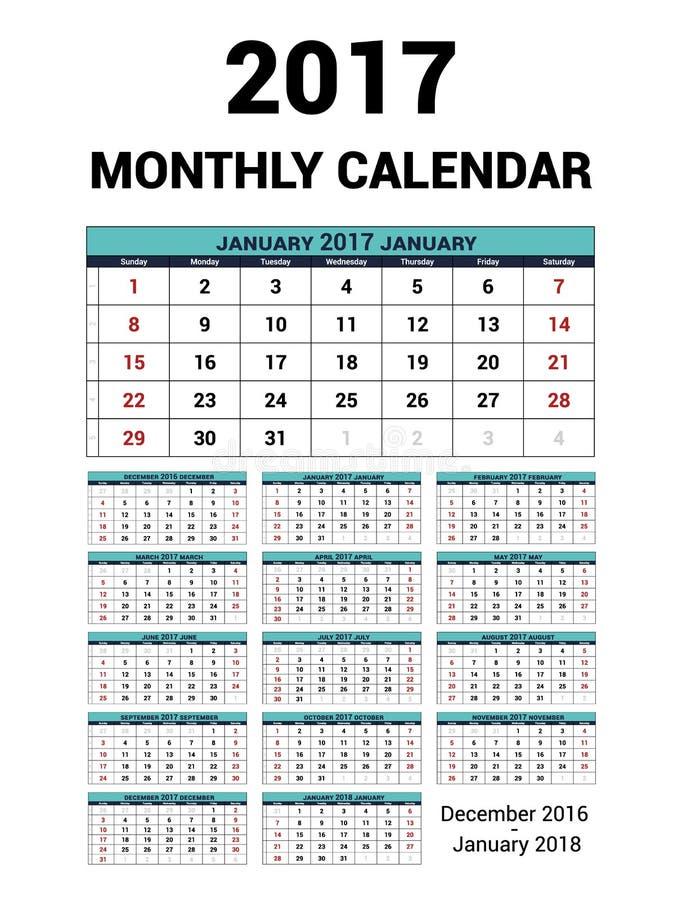 Calendario mensual por 2017 años Plantilla de la impresión del diseño de los efectos de escritorio del vector La semana comienza  libre illustration