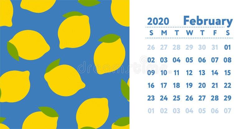 Calendario 2020 Mes de febrero Calendario de pared ingl?s del vector Modelo incons?til del lim?n Bosquejo exhausto de las frutas  ilustración del vector