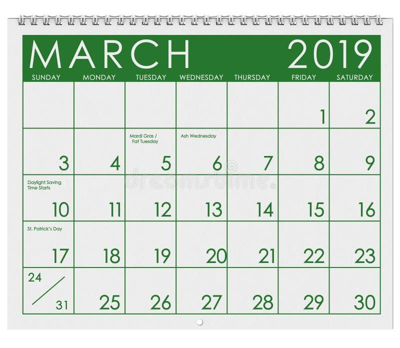 2019: Calendario: Mes de marzo stock de ilustración