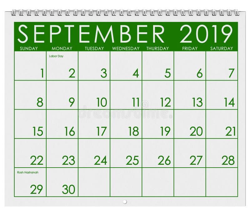 2019: Calendario: Mes de septiembre stock de ilustración