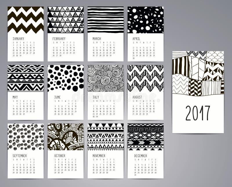 Calendario 2017 Modelli con i modelli disegnati a mano illustrazione di stock