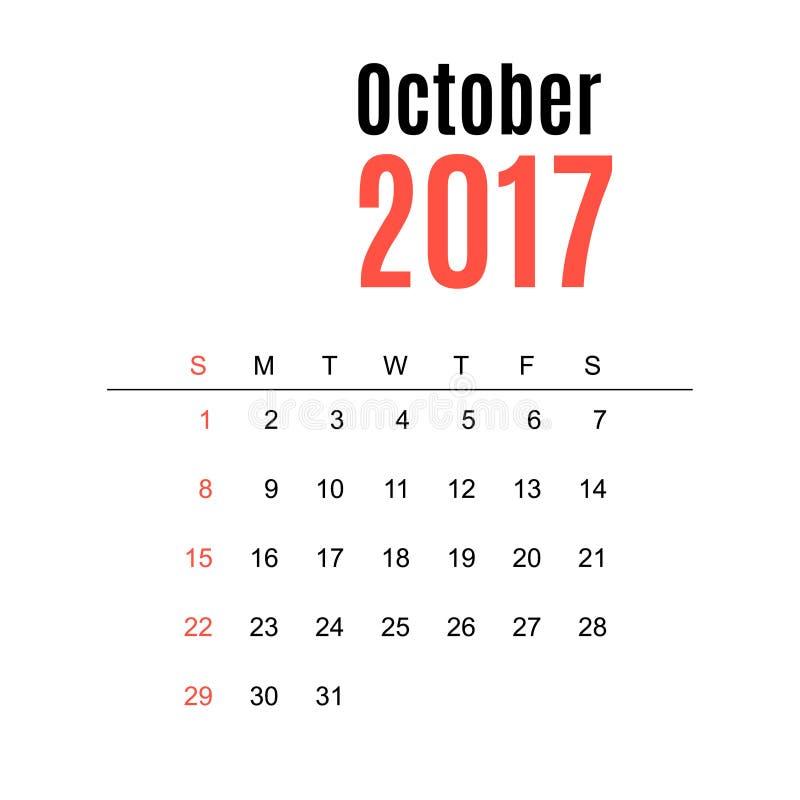 Calendario, modello della stampa, il vostro logo e testo La settimana comincia domenica Orientamento del ritratto ottobre illustrazione vettoriale