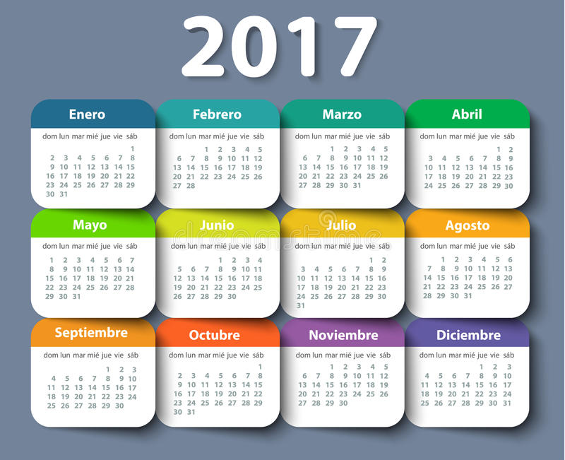 Calendario modello di progettazione di vettore di 2017 anni nello Spagnolo illustrazione di stock