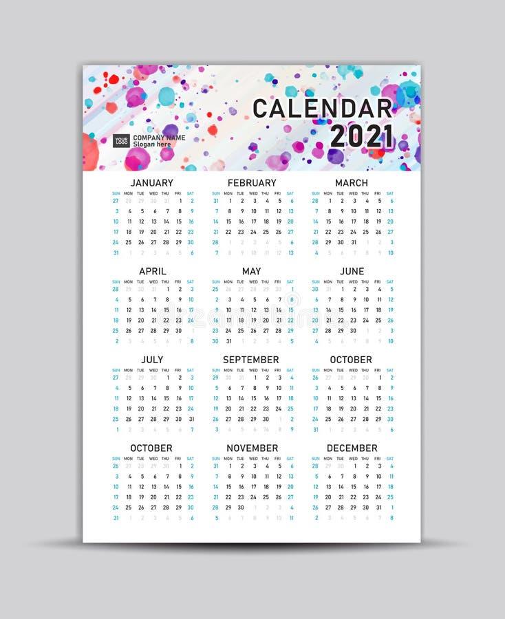 Calendario 2021: Modello Vettore, Calendario Lettering, Sfondo