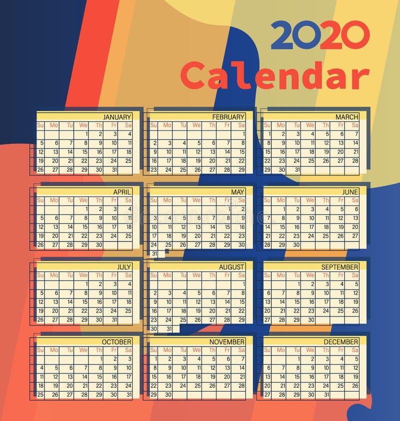 Calendario 2020 Modelo del vector libre illustration
