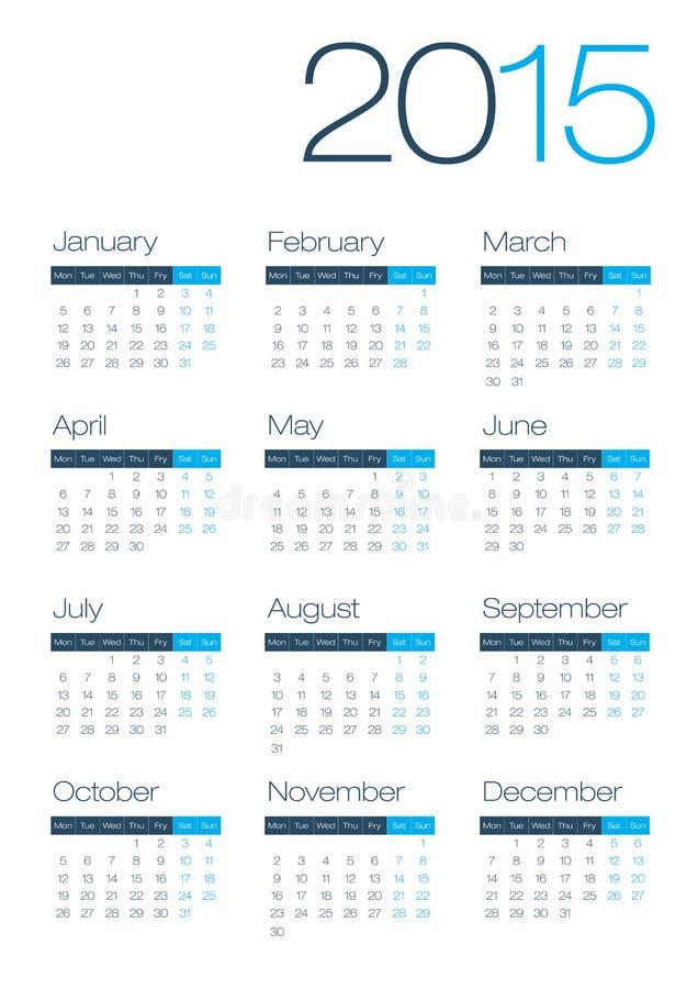 Calendario moderno e pulito di affari 2015 illustrazione vettoriale
