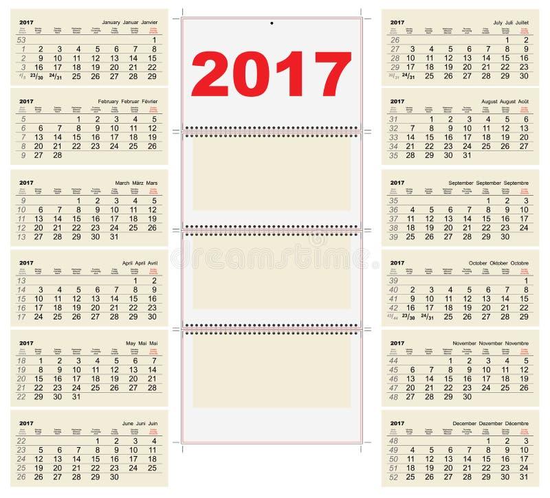 Calendario murale di griglia del modello 2017 Primo giorno lunedì royalty illustrazione gratis