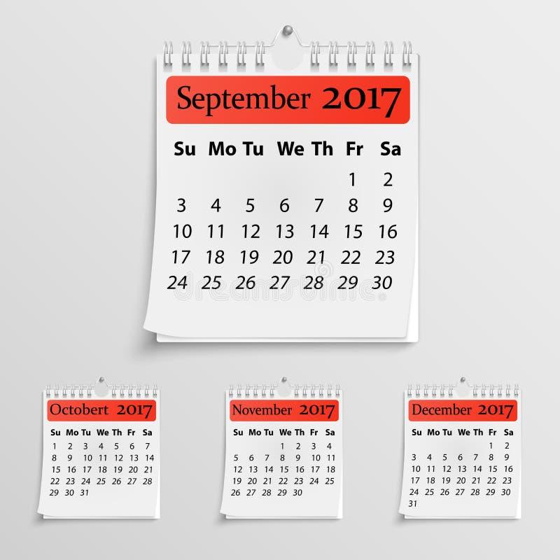 Calendario murale realistico con la molla illustrazione di stock