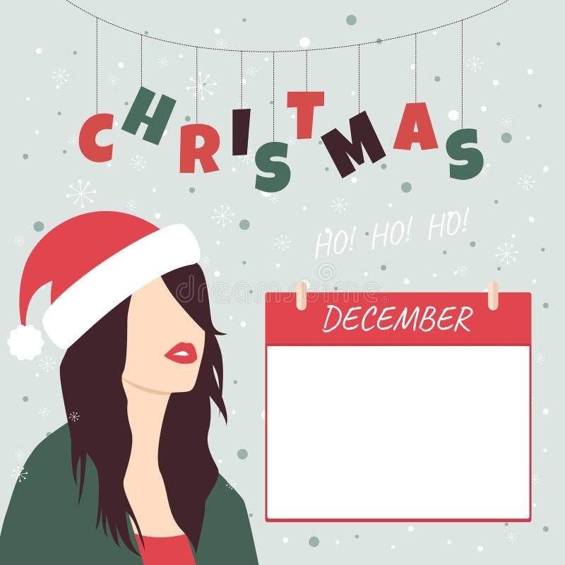 calendario natalizio dicembre Ragazza nel cappello di Babbo Natale illustrazione vettoriale