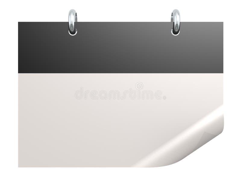 Calendario nero in bianco su bianco illustrazione vettoriale