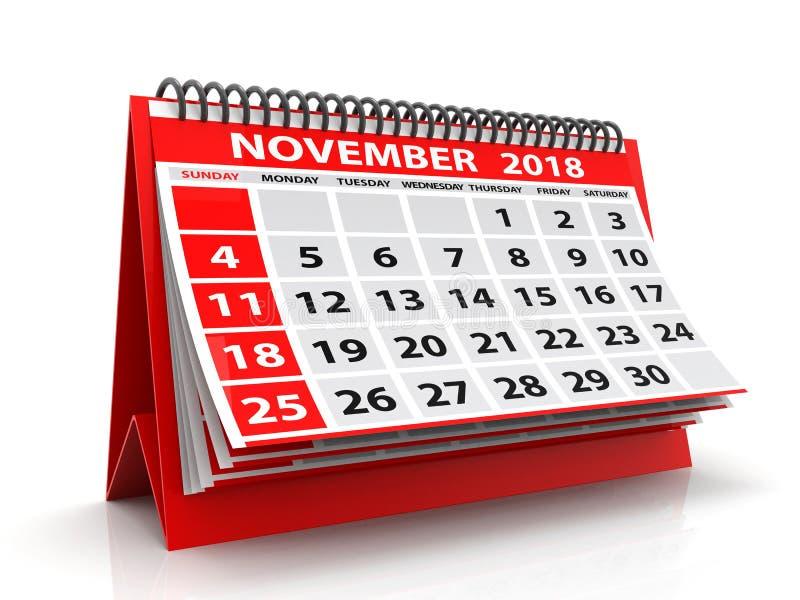 Calendario novembre 2018 a spirale Novembre 2018 calendario nel fondo bianco illustrazione 3D fotografia stock libera da diritti
