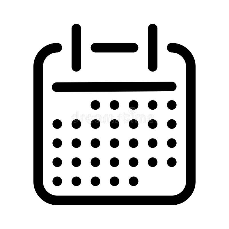 Calendario o icono del horario Símbolo de los eventos del planeamiento y de las reuniones o de los ajustes de la fecha Elemento d ilustración del vector