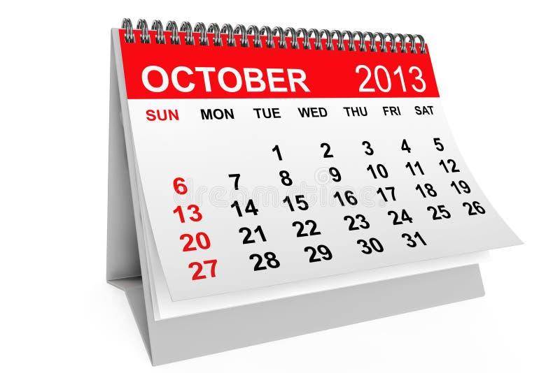 Calendario octubre de 2013 ilustración del vector