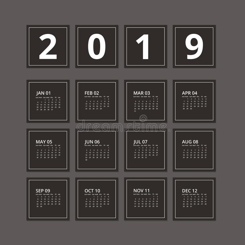 calendario 2019 oscuro Ilustración del vector libre illustration