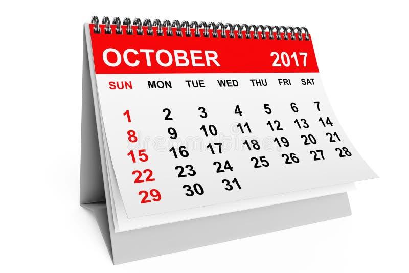 Calendario ottobre 2017 rappresentazione 3d royalty illustrazione gratis