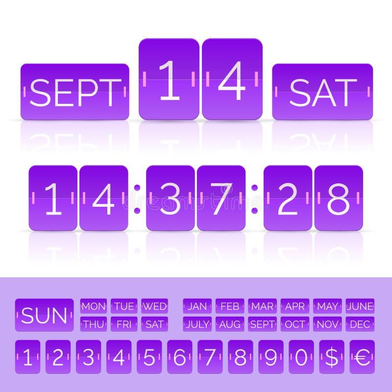 Calendario púrpura del tirón con el contador de tiempo plano de la cuenta descendiente con números aislado stock de ilustración