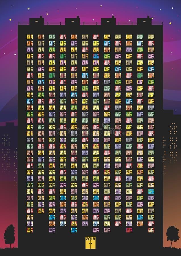 Calendario para 2018 ilustración del vector