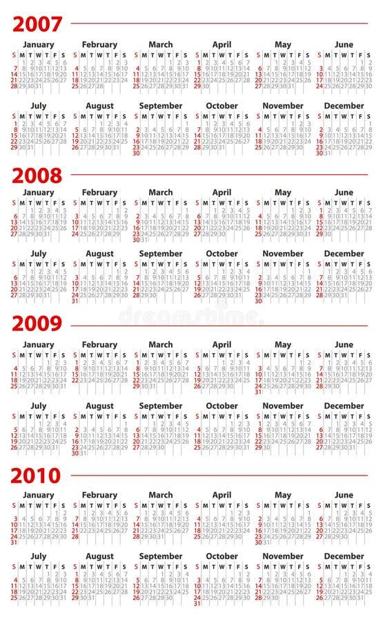 Calendario para 2007, 2008, 2009 y 2010 ilustración del vector