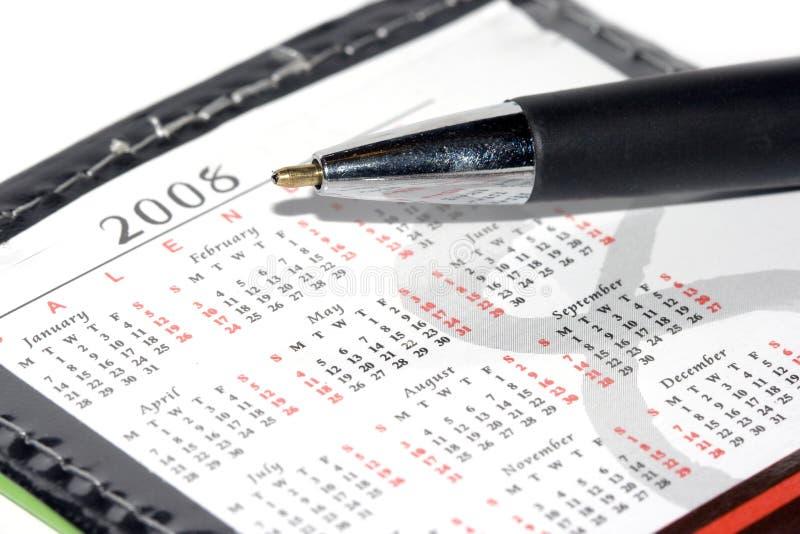Calendario para 2008 y pluma imágenes de archivo libres de regalías